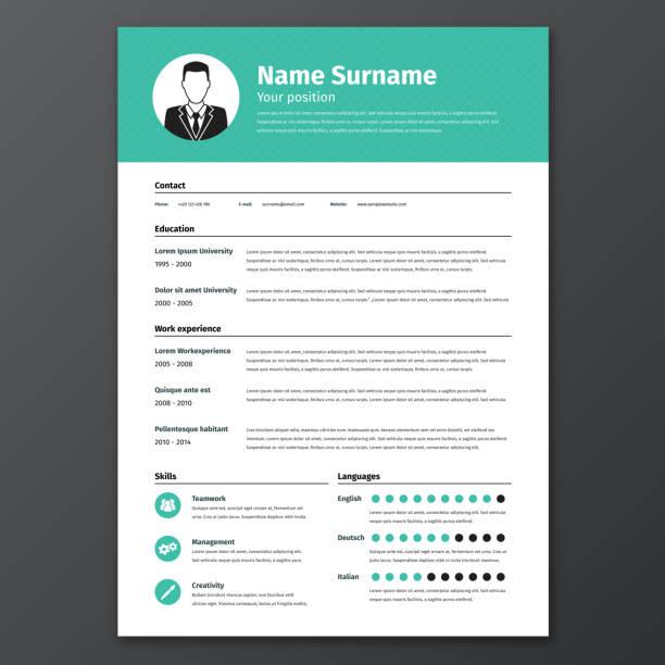 cv, resume template - business cv templates stock illustrations