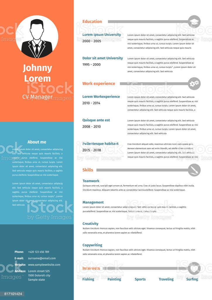 Curriculum Vitae Modello Di Curriculum Immagini Vettoriali Stock E