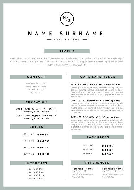 resume template - resume templates stock illustrations