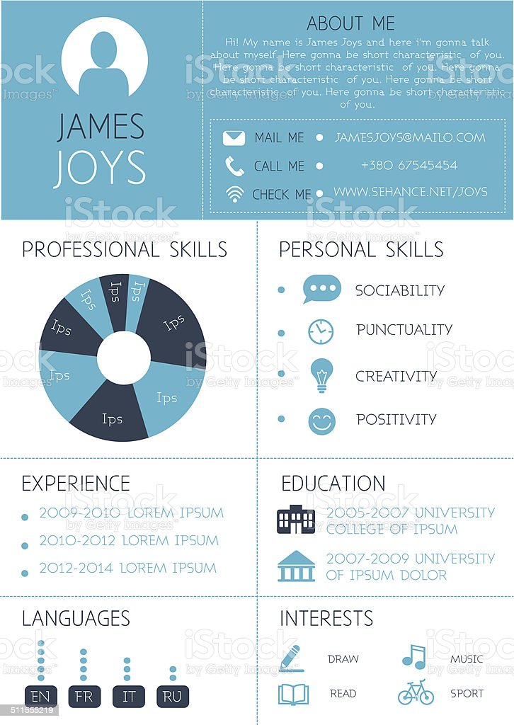 resume template with infographics and icons stock vector