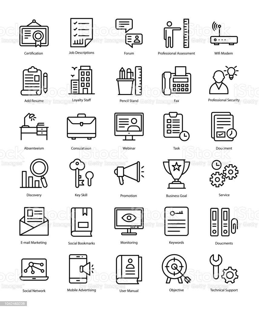Resumes For Job Line Icons Set Stock Illustration Download Image