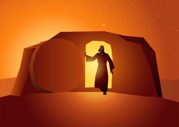 stockillustraties, clipart, cartoons en iconen met opstanding van jezus - graftombe
