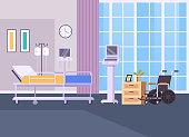 Resuscitation hospital room interior concept. Vector flat graphic design simple illustration