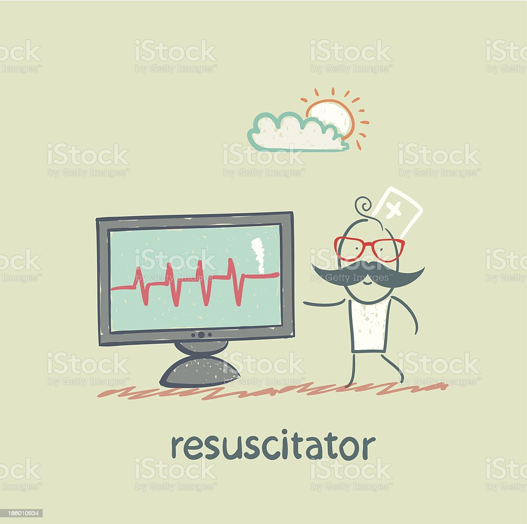resuscitation is a monitor shows the heartbeat royalty-free stock vector art