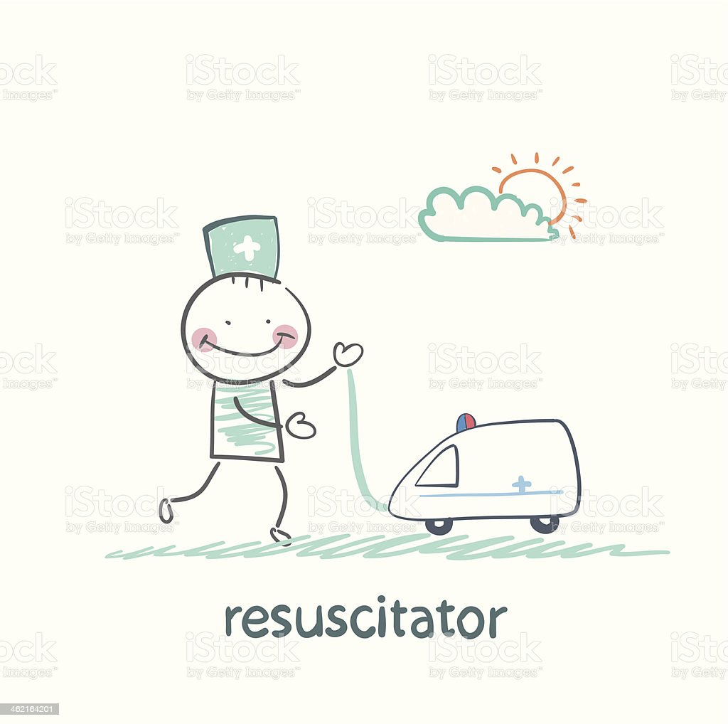 resuscitator played with toy ambulance royalty-free stock vector art