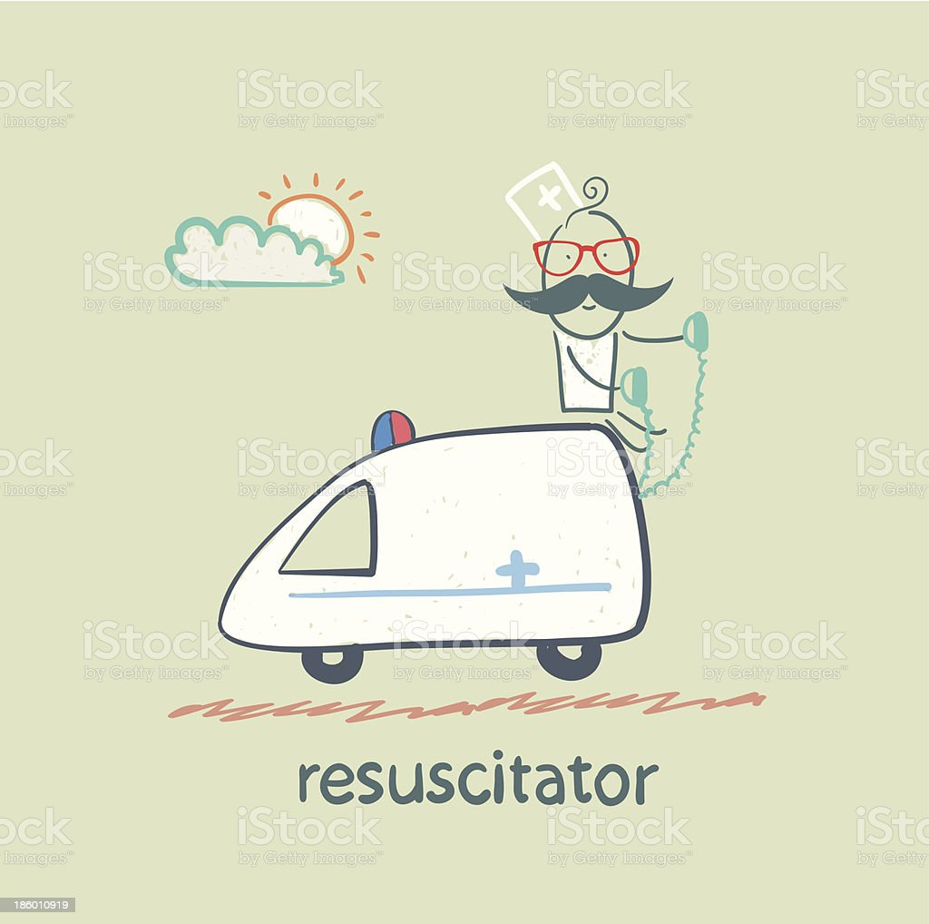 resuscitator rides in the ambulance royalty-free stock vector art