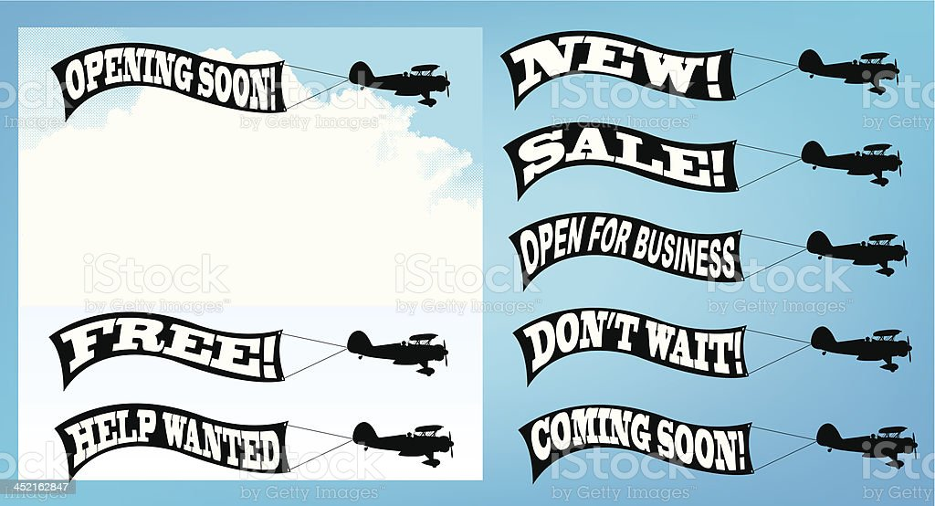 Retail Advertising Signage - Biplane Banner, Marketing vector art illustration