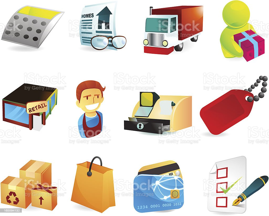 Retail & Shopping Icons royalty-free stock vector art