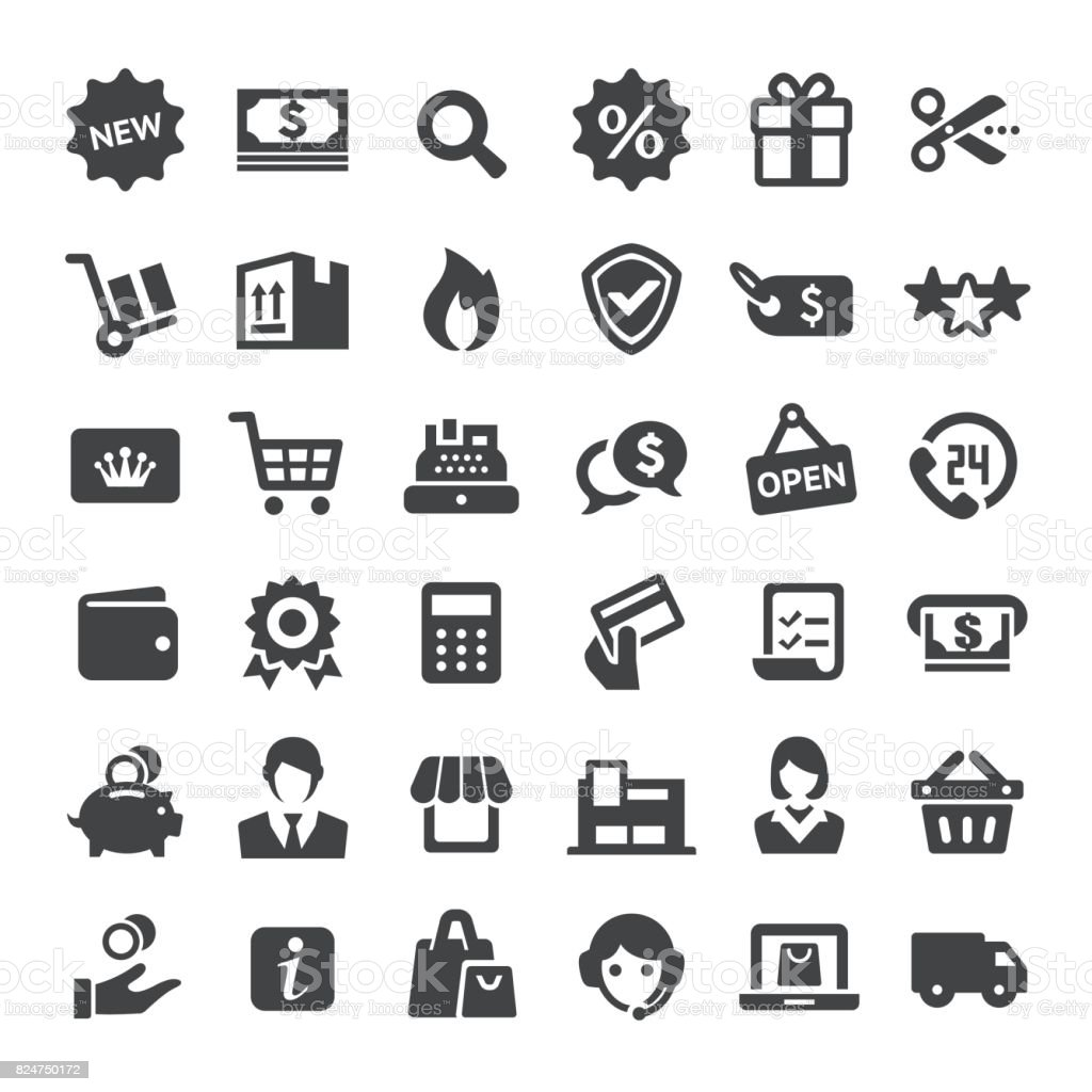 Einzelhandel und E-Commerce Icons - Serie Big – Vektorgrafik