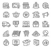 Retail and E-commerce Line Icons with Bank, Delivering, Restaurant and Shopping Symbols