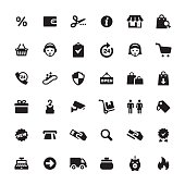 Retail and E-commerce related symbols and icons.