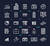 Retail banking and financial services outline style symbols on dark background. Line vector icons set for infographics, mobile and web designs.