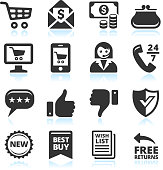 """Vector illustration set of 16 customer service and shopping related icons.  The first row is made up of four icons which are a shopping cart, an envelope with money, money bills and coins and a purse.  The second row is made up of four icons which are a computer online shopping, mobile online shopping, a female customer service representative and a 24-hour telephone helpline.  The third row is made up of four icons which are a three star message bubble, a thumbs-up, a thumbs-down and a secure shield.  The fourth row is made up of four icons, which state """"new,"""" """"best buy,"""" """"wish list"""" and """"free returns."""""""