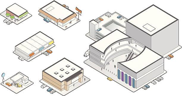 stockillustraties, clipart, cartoons en iconen met retail building icons illustration - warenhuis