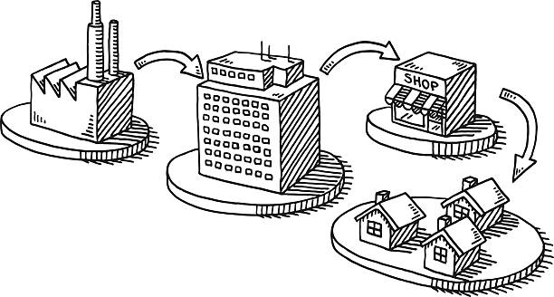 Retail Buildings Infographics Drawing Hand-drawn vector drawing of a Retail Buildings Infographics, showing the whole process of Producing, Organizing, Distribution and Customer. Black-and-White sketch on a transparent background (.eps-file). Included files are EPS (v10) and Hi-Res JPG. business stock illustrations