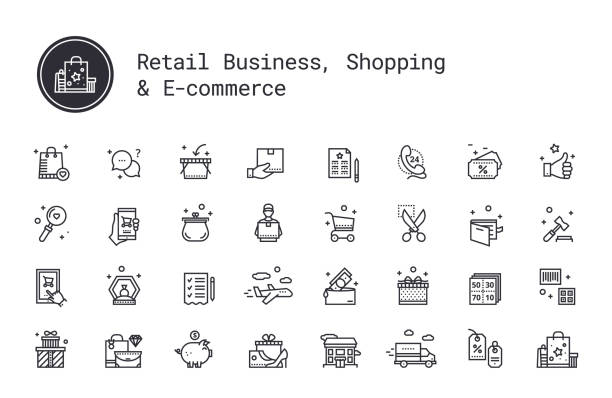 Retail business, shopping, ecommerce, marketing linear icons set. Vector illustration clipart collection isolated on white background. Retail business, shopping, e-commerce thin line icons. On-line shop, commerce, goods and money pictograms. Auction, airmail, courier delivery, sale coupon, wish list, delivery track, cash back service shopping list stock illustrations