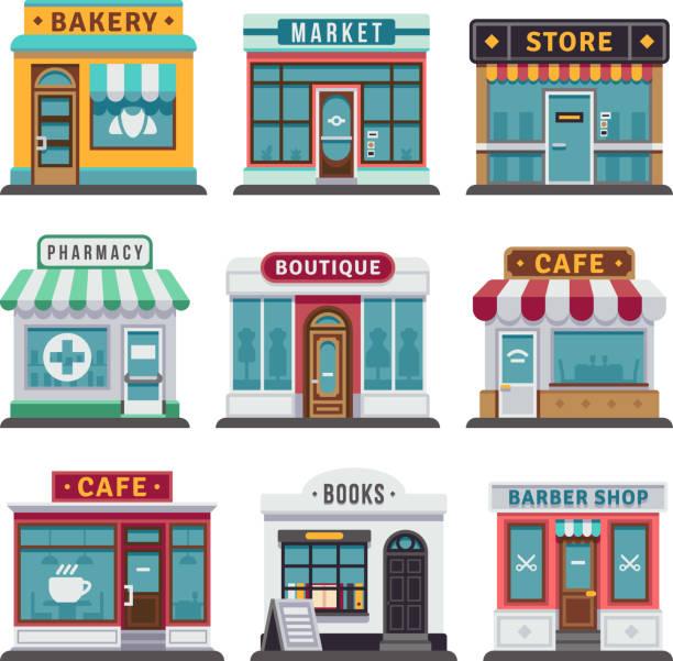 retail-geschäft urban shop, store - städtische mode stock-grafiken, -clipart, -cartoons und -symbole