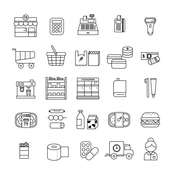 stockillustraties, clipart, cartoons en iconen met retail icon set - gemaksvoedsel