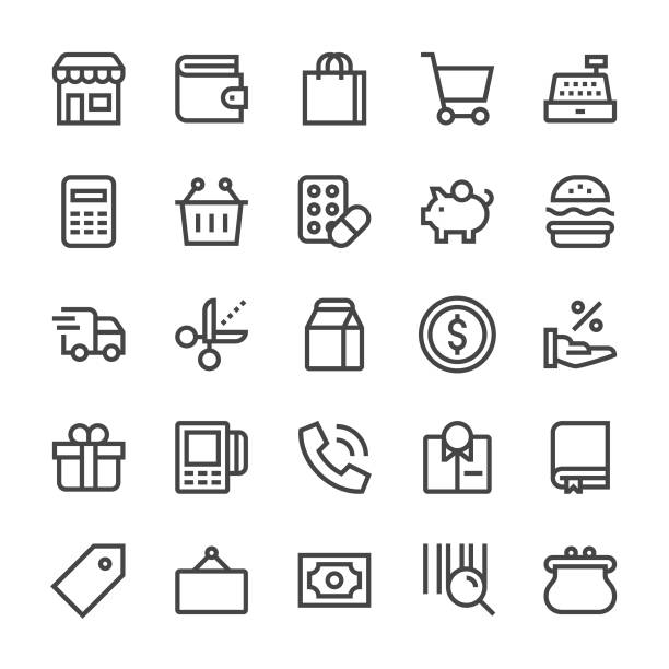 retail icons - mediumx line - handel detaliczny stock illustrations