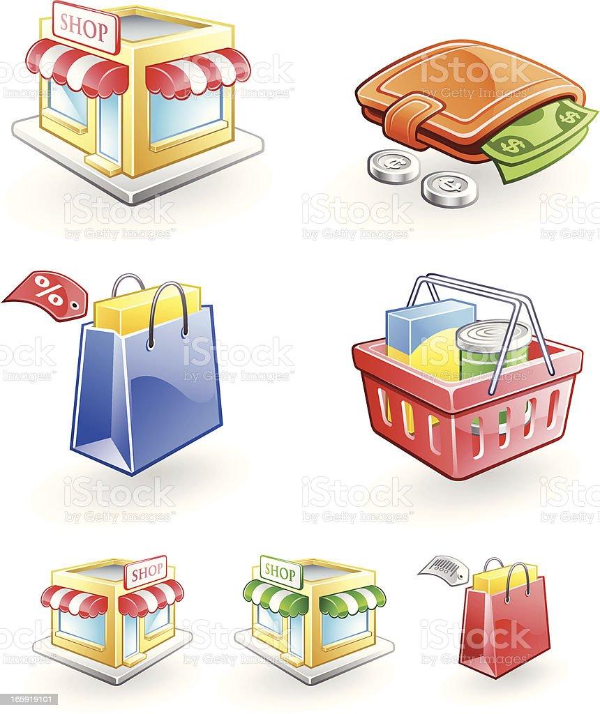 Retail Icons of Shop, Shopping Basket, Bag, Wallet, Money royalty-free retail icons of shop shopping basket bag wallet money stock vector art & more images of awning