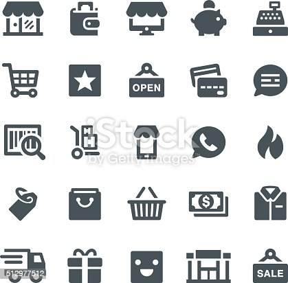 Shopping, retail, shop, e-commerce, icons, shopping bag, store, icon, wallet, cash register