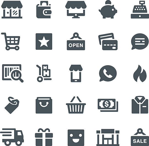 Retail Icons Shopping, retail, shop, e-commerce, icons, shopping bag, store, icon, wallet, cash register conceptual symbol stock illustrations