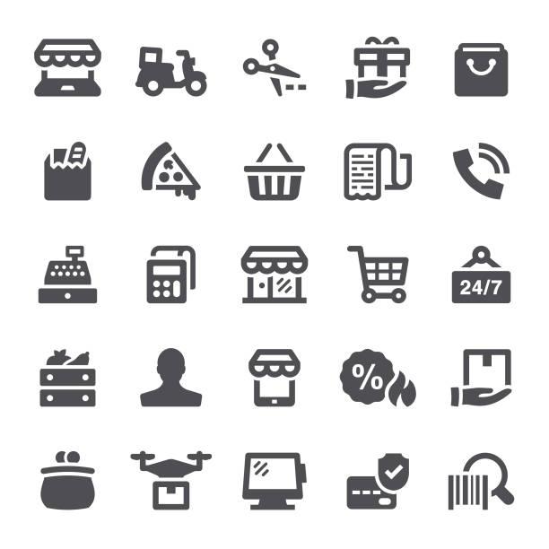 illustrazioni stock, clip art, cartoni animati e icone di tendenza di retail icons - icona supermercato