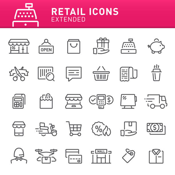 Retail Icons Shopping, retail, shop, e-commerce, icon set, icon, cash register, shopping bag, store grocery store stock illustrations