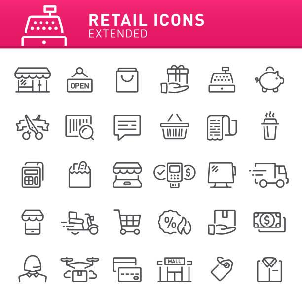 ilustraciones, imágenes clip art, dibujos animados e iconos de stock de iconos de venta  - grocery store