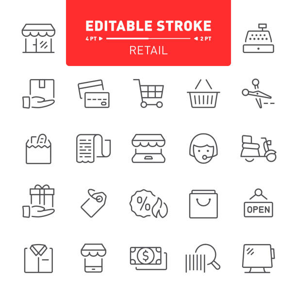 Retail Icons Shopping, retail, shop, e-commerce, editable stroke, outline, icon, icon set, shopping bag, grocery, store receipt stock illustrations