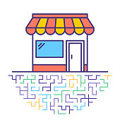 Flat line vector icon illustration of retail inventory with abstract background.
