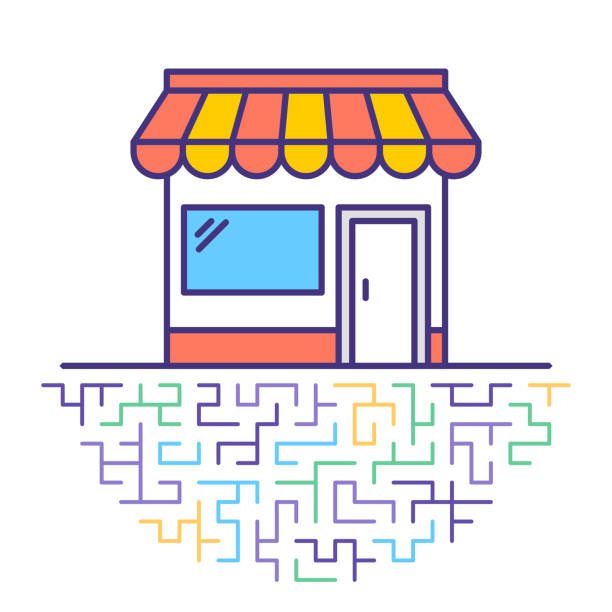 retail inventory flat line icon illustration - small business stock illustrations