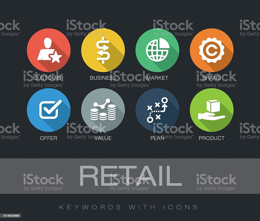Retail keywords with icons vector art illustration