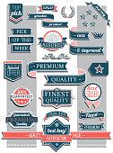 Set of crisp retro retail labels and stickers.