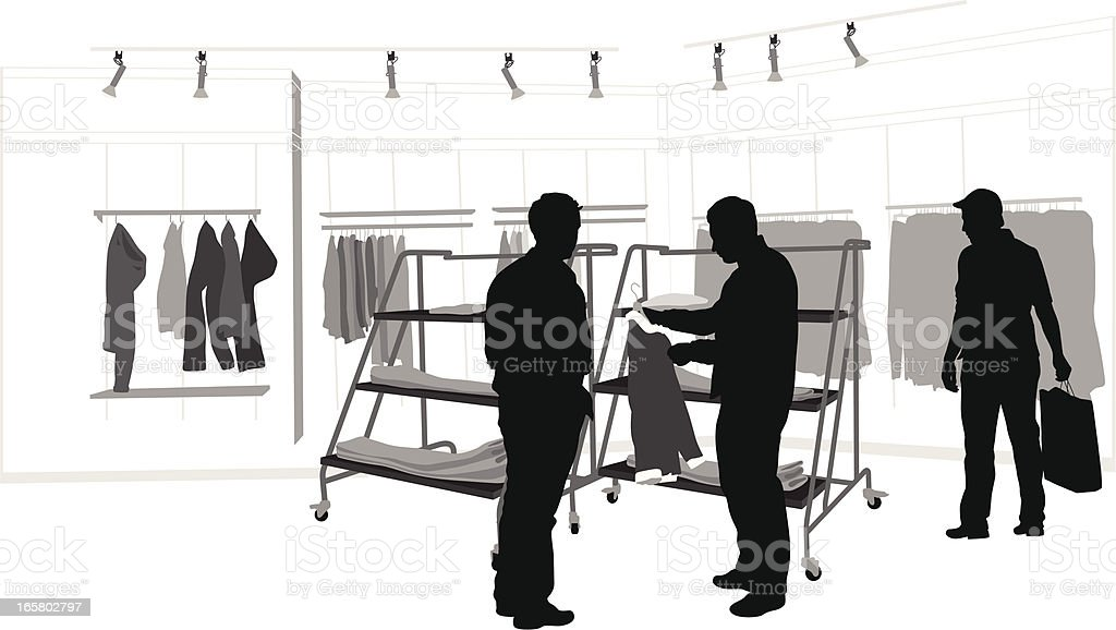 Retail Mens wear Vector Silhouette royalty-free stock vector art