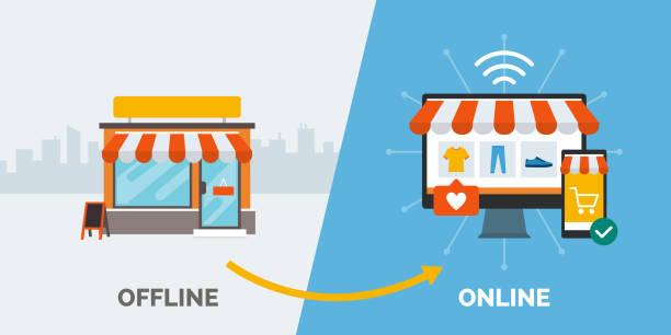 離線零售,在線和成功業務 - 商店 幅插畫檔、美工圖案、卡通及圖標