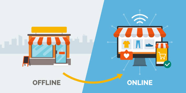 오프라인에서 온라인 및 성공적인 비즈니스로 의 소매 - store stock illustrations