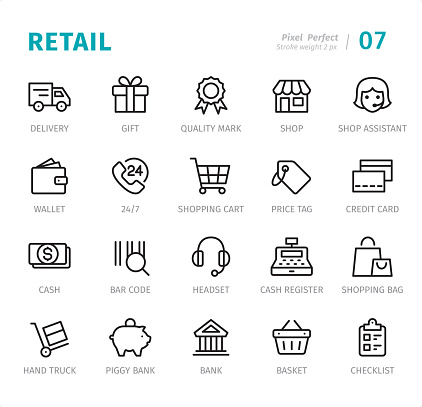 Retail - 20 Outline Style - Single line icons with captions / Set #XX Designed in 48x48pх square, outline stroke 2px.  First row of outline icons contains: Delivery Van, Gift Box, Quality Mark, Shop, Shop Assistant;  Second row contains: Wallet, 24 Hrs, Shopping Cart, Price Tag, Credit Card;  Third row contains: Cash, Bar Code, Headset, Cash Register, Shopping Bag;  Fourth row contains: Hand Truck, Piggy Bank, Bank, Shopping Basket, Checklist.  Complete Signico collection - https://www.istockphoto.com/collaboration/boards/VT_7sDWo80OLh7foVxchBQ