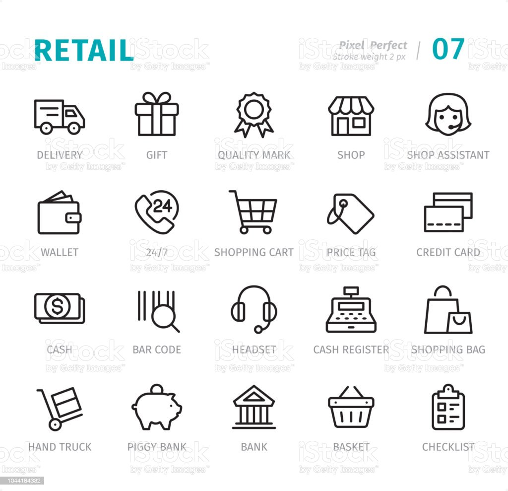 Retail - Pixel Perfect line icons with captions vector art illustration