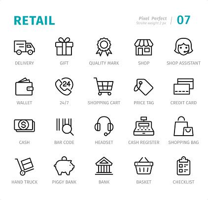 Retail Pixel Perfect Line Icons With Captions - Stockowe grafiki wektorowe i więcej obrazów 24 Hrs - Angielski zwrot