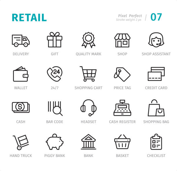 Retail - Pixel Perfect line icons with captions Retail - 20 Outline Style - Single line icons with captions / Set #XX Designed in 48x48pх square, outline stroke 2px.  First row of outline icons contains: Delivery Van, Gift Box, Quality Mark, Shop, Shop Assistant;  Second row contains: Wallet, 24 Hrs, Shopping Cart, Price Tag, Credit Card;  Third row contains: Cash, Bar Code, Headset, Cash Register, Shopping Bag;  Fourth row contains: Hand Truck, Piggy Bank, Bank, Shopping Basket, Checklist.  Complete Signico collection - https://www.istockphoto.com/collaboration/boards/VT_7sDWo80OLh7foVxchBQ for sale stock illustrations