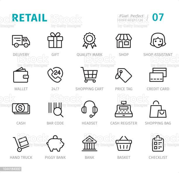 Retail Pixel Perfect Line Icons With Captions - Arte vetorial de stock e mais imagens de 24 Hrs - Frase Curta