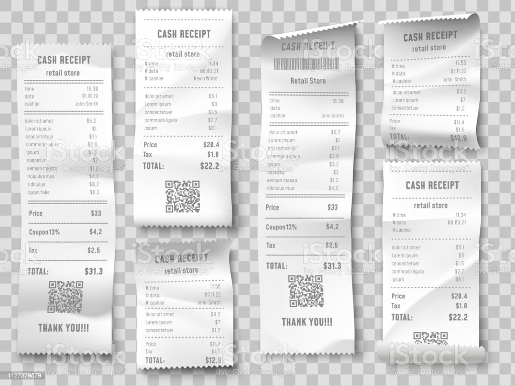 Retail purchase bill. Supermarket shopping receipt, sum invoice check and total cost store sale paper isolated vector set - arte vettoriale royalty-free di Affari