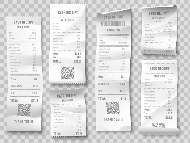 illustrazioni stock, clip art, cartoni animati e icone di tendenza di retail purchase bill. supermarket shopping receipt, sum invoice check and total cost store sale paper isolated vector set - scontrino