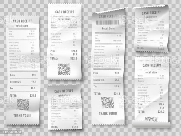 Retail Purchase Bill Supermarket Shopping Receipt Sum Invoice Check And Total Cost Store Sale Paper Isolated Vector Set - Immagini vettoriali stock e altre immagini di Affari