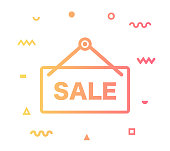 Retail sale outline style icon design with decorations and gradient color. Line vector icon illustration for modern infographics, mobile designs and web banners.