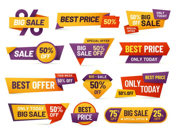illustrazioni stock, clip art, cartoni animati e icone di tendenza di retail sale tags. cheap price flyer, best offer price and big sale pricing tag badge design isolated vector collection - sales