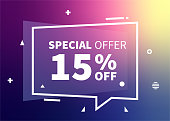 Retail sales banner design with discount up to 15 off. Web banner illustration for business, promotion or advertising.