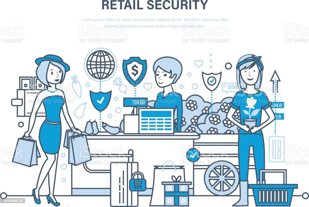 Retail security. Shopping, online ordering system of products, secure payments vector art illustration