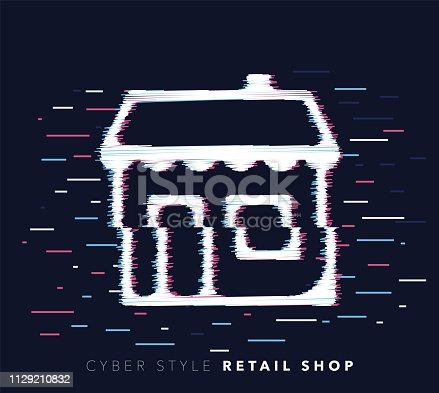 Glitch effect vector icon illustration of retail shop with abstract background.